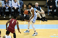 CHAPEL HILL, NC - FEBRUARY 1: Leaky Black #1 of the University of North Carolina dribbles the ball during a game between Boston College and North Carolina at Dean E. Smith Center on February 1, 2020 in Chapel Hill, North Carolina.