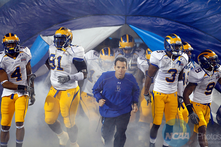 07 JAN 2011:  Head Coach K.C. Keeler of the University of Delaware leads his team onto the field against Eastern Washington University during the Division l FCS Football Championship held at Pizza Hut Park in Frisco, TX. Eastern Washington defeated Delaware 20-19 for the national title. Brandon Wade/NCAA Photos