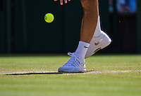England, London, Juli 04, 2015, Tennis, Wimbledon, Shoes  Federer services<br /> Photo: Tennisimages/Henk Koster