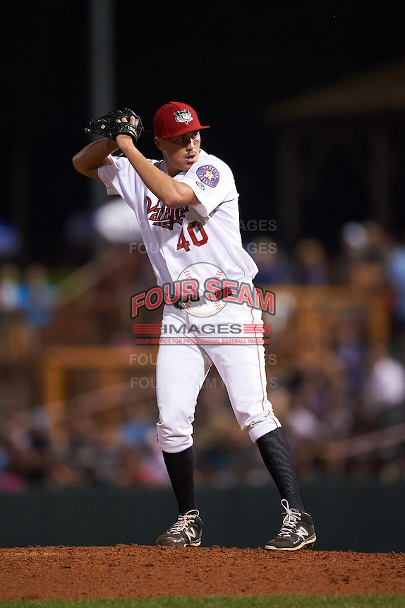 Tri-City ValleyCats pitcher Adam Whitt (40) gets ready to deliver a pitch during a game against the Brooklyn Cyclones on September 1, 2015 at Joseph L. Bruno Stadium in Troy, New York.  Tri-City defeated Brooklyn 5-4.  (Mike Janes/Four Seam Images)