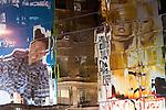 Billboards reflected in windows, New York, USA