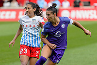 Bridgeview, IL - Saturday July 22, 2017: Christen Press, Ali Krieger during a regular season National Women's Soccer League (NWSL) match between the Chicago Red Stars and the Orlando Pride at Toyota Park. The Red Stars won 2-1.