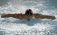 Feb 22, 2015; Whittier, CA, USA; Austin Lashley of Occidental College competes in 200-yard butterfly the at the SCIAC swimming championships at Whittier College. Photo by Kirby Lee