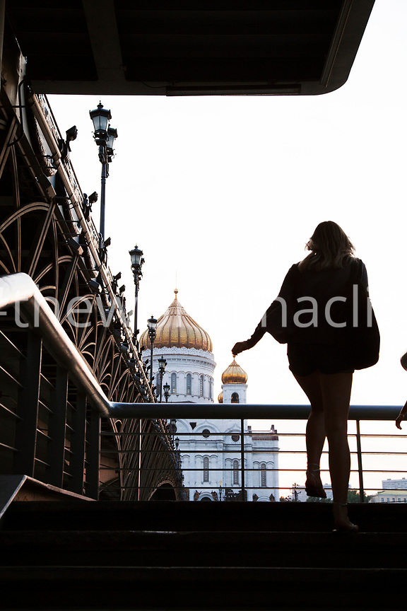 RUSSIA, Moscow. A view of the Patriarshy Bridge and the Cathedral of Christ the Saviour.