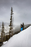 USA, Colorado, Aspen, portrait of a skier on Kessler's run, Aspen Highlands Ski Resort