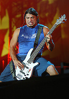 Metallica performs at the Los Angeles Memorial Coliseum during the 2003 Summer Sanitarium Tour