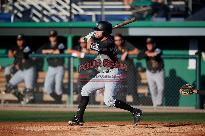 West Virginia Black Bears Luke Mangieri (17) bats during a NY-Penn League game against the Batavia Muckdogs on June 27, 2019 at Dwyer Stadium in Batavia, New York.  West Virginia defeated Batavia 6-5 in ten innings.  (Mike Janes/Four Seam Images)