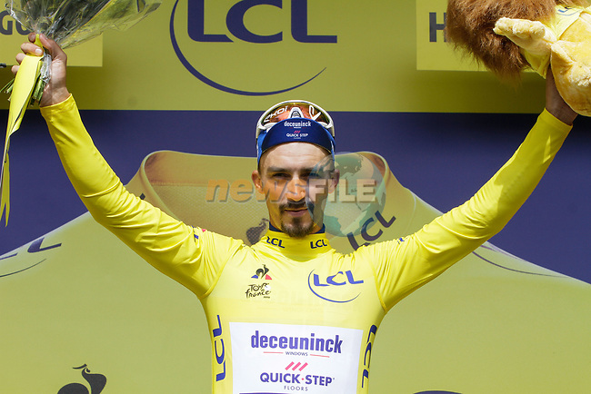 Race leader Julian Alaphilippe (FRA) Deceuninck-Quick Step retains the Yellow Jersey at the end of Stage 12 of the 2019 Tour de France running 209.5km from Toulouse to Bagneres-de-Bigorre, France. 18th July 2019.<br /> Picture: ASO/Colin Flockton | Cyclefile<br /> All photos usage must carry mandatory copyright credit (© Cyclefile | Colin Flockton)