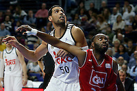 50 Salah Mejri Shooting guard of Real Madrid Baloncesto . 24 MARCUS LANDRY Guards of CAI Zaragoza.2014 November 30 Madrid Spain. ACB LIGA ENDESA 14/15, 9º Match, match played between Real Madrid Baloncesto vs CAI Zaragoza at Palacio de los deportes stadium.