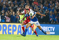 BOGOTA, COLOMBIA - MARCH 03: Daniel Giraldo of Santa Fe fights for the ball against John Duque of Millonarios during the match between Millonarios and Independiente Santa Fe as part of the Liga BetPlay at Estadio El Campin on March 3, 2020 in Bogota, Colombia. (Photo by John W. Vizcaino/VIEW press/Getty Images)
