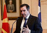 Pictured: Mayor of Athens Giorgos Kaminis. Friday 09 February 2018<br /> Re: Mayor of Athens Giorgos Kaminis and the Mayor of Skopje in the Former Yugoslav Republic of Macedonia, Petre Silegov have met at the Athens City Hall in Greece.
