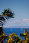 a vertical view of a sailboat off of the Kaanapali coast of West Maui, Hawaii
