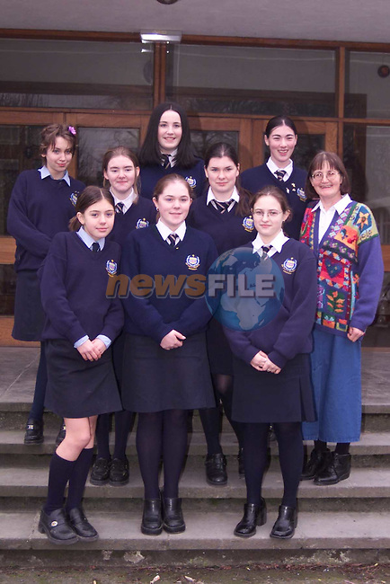 (Back L to R) Eliza Matthews, Donna Lawless, Fionnuala Gibney, Muireann McGinty and Catriona Begley..(front L to R) Marie-Claire Rielly, Irene Sands and Emma Clarke students at Greenhills, pictured with teacher Frances O'Reagan, who participated in this years Young Scientists Exhibition in the RDS..Pic: Newsfile