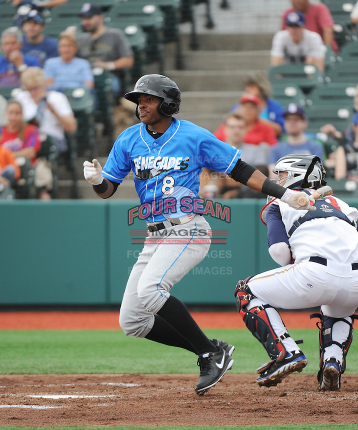 Hudson Valley Renegades outfielder James Harris (8) during game against the Brooklyn Cyclones at MCU Park on July 28, 2013 in Brooklyn, NY.  Brooklyn defeated Hudson Valley 4-2.  Tomasso DeRosa/Four Seam Images