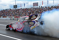Jun. 2, 2012; Englishtown, NJ, USA: NHRA funny car driver Tony Pedregon during qualifying for the Supernationals at Raceway Park. Mandatory Credit: Mark J. Rebilas-