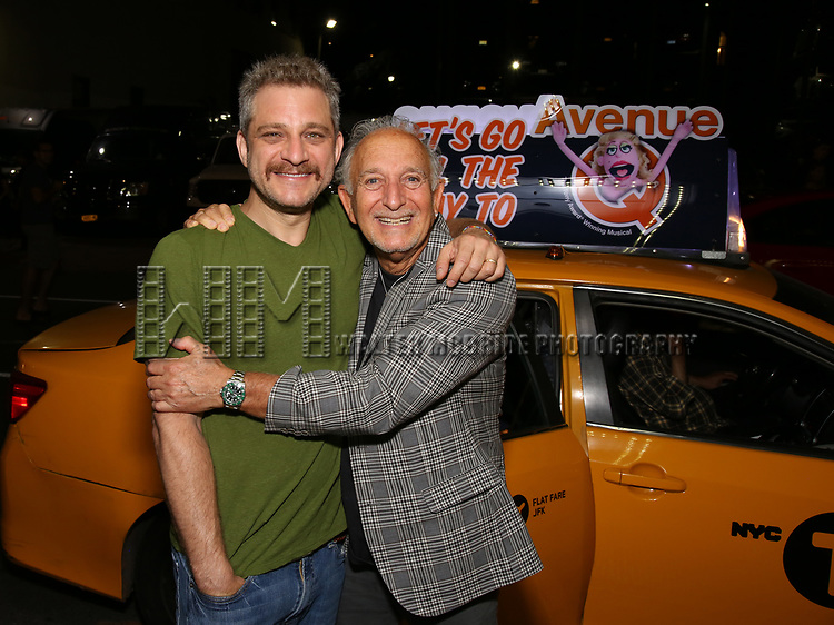 Jeff Marx and father taking the 'Avenue Q' - 15th Anniversary Performance Taxi Cab at New World Stages on July 31, 2018 in New York City.