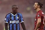 Romelu Lukaku of Inter and Zlatan Ibrahimovic of AC Milan during the Serie A match at Giuseppe Meazza, Milan. Picture date: 9th February 2020. Picture credit should read: Jonathan Moscrop/Sportimage