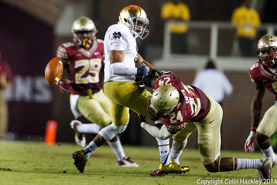TALLAHASSEE, FLA. 10/18/14-FSU-ND101814CH-Florida State's Terrance Smith strips the ball from Notre Dame's Amir Carlisle during second half action Saturday at Doak Campbell Stadium in Tallahassee. Notre Dame recovered the fumble. The Seminoles beat the Fighting Irish 31-27.<br /> COLIN HACKLEY PHOTO
