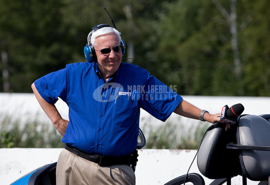 Aug. 18, 2013; Brainerd, MN, USA: ESPN announcer Gary Gerould during the NHRA Lucas Oil Nationals at Brainerd International Raceway. Mandatory Credit: Mark J. Rebilas-