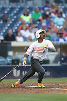 Khalil Lee (2) of the East team bats during the 2015 Perfect Game All-American Classic at Petco Park on August 16, 2015 in San Diego, California. The East squad defeated the West, 3-1. (Larry Goren/Four Seam Images)