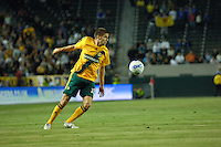 Los Angeles Galaxy's Kyle Martino eyes the ball. The Glasgow Rangers FC beat the LA Galaxy 1-0 in an International friendly match played at the Home Depot Center in Carson, California, Wednesday, May 23, 2007.