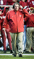 NWA Democrat-Gazette/CHARLIE KAIJO Arkansas Razorbacks head coach Bret Bielema directs from he sidelines in the second half during a football game on Friday, November 24, 2017 at Razorback Stadium in Fayetteville.