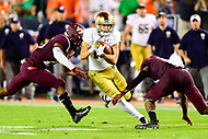 Blacksburg, VA - OCT 6, 2018: Notre Dame Fighting Irish wide receiver Chris Finke (10) is tackled by Virginia Tech Hokies defenders after picking up a first down in the first half of game between Notre Dame and Virginia Tech at Lane Stadium/Worsham Field Blacksburg, VA. (Photo by Phil Peters/Media Images International)