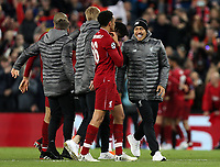 Liverpool's Roberto Firmino celebrates with Trent Alexander-Arnold at the final whistle <br /> <br /> Photographer Rich Linley/CameraSport<br /> <br /> UEFA Champions League Semi-Final 2nd Leg - Liverpool v Barcelona - Tuesday May 7th 2019 - Anfield - Liverpool<br />  <br /> World Copyright © 2018 CameraSport. All rights reserved. 43 Linden Ave. Countesthorpe. Leicester. England. LE8 5PG - Tel: +44 (0) 116 277 4147 - admin@camerasport.com - www.camerasport.com