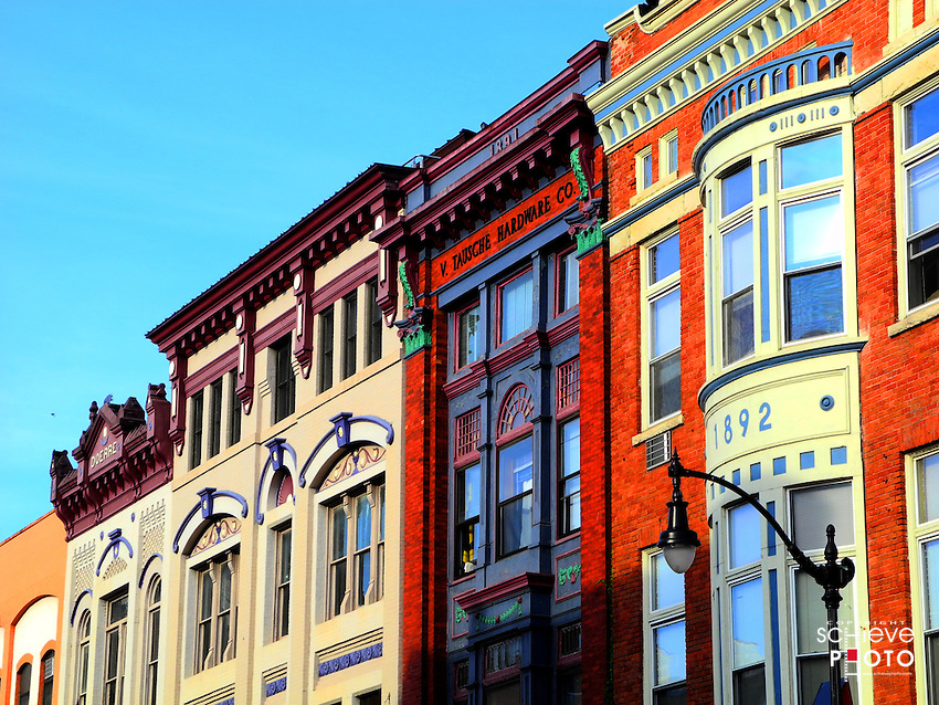 Historic buildings in downtown La Crosse, Wisconsin.