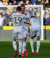Leeds United's Luke Ayling celebrates scoring the opening goal with Pablo Hernandez<br /> <br /> Photographer Alex Dodd/CameraSport<br /> <br /> The EFL Sky Bet Championship - Hull City v Leeds United - Saturday 29th February 2020 - KCOM Stadium - Hull<br /> <br /> World Copyright © 2020 CameraSport. All rights reserved. 43 Linden Ave. Countesthorpe. Leicester. England. LE8 5PG - Tel: +44 (0) 116 277 4147 - admin@camerasport.com - www.camerasport.com