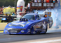 Aug 19, 2017; Brainerd, MN, USA; NHRA funny car driver Jack Beckman during qualifying for the Lucas Oil Nationals at Brainerd International Raceway. Mandatory Credit: Mark J. Rebilas-USA TODAY Sports