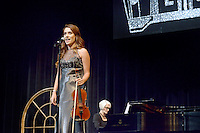 NWA Democrat-Gazette/BEN GOFF @NWABENGOFF<br /> Mary Moreno performs a vocal and violin piece on Thursday Sept. 24, 2015 during Talent Night of the Miss Bentonville High School Scholarship Pageant in the school's Arend Arts Center. Evening gown, finals and awards for the pageant will be held at the school on Saturday at 7:00p.m.