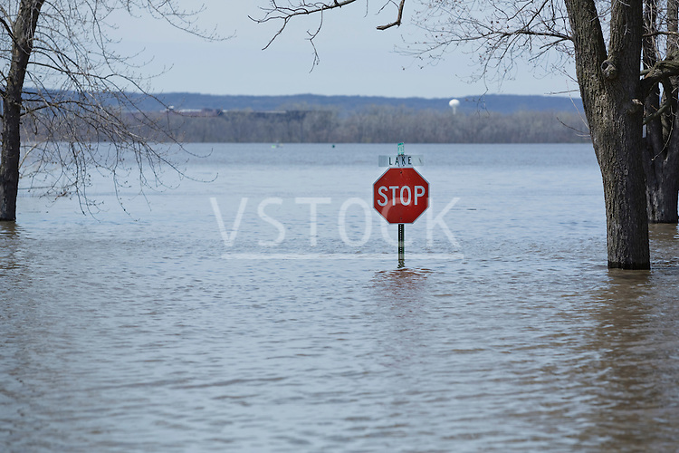Stop sign sticking out from flood waters