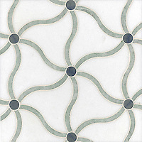 Tallulahl, a stone water jet mosaic, shown in Blue Macauba, Ming Green, and Thassos, is part of the Ann Sacks Beau Monde collection sold exclusively at www.annsacks.com