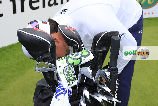 Rafa Cabrera-Bello (ESP) putter cover during Wednesday's Pro-Am of the 2016 Dubai Duty Free Irish Open hosted by Rory Foundation held at the K Club, Straffan, Co.Kildare, Ireland. 18th May 2016.<br /> Picture: Eoin Clarke | Golffile<br /> <br /> <br /> All photos usage must carry mandatory copyright credit (&copy; Golffile | Eoin Clarke)