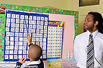 Education Elementary male teacher watching as boy uses pointer for counting activity