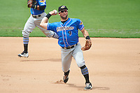 Akron RubberDucks third baseman Joe Sever (9) throws to first base during the first game of a doubleheader against the Bowie Baysox on June 5, 2016 at Prince George's Stadium in Bowie, Maryland.  Bowie defeated Akron 6-0.  (Mike Janes/Four Seam Images)
