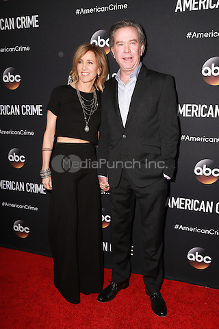 LOS ANGELES, CA - FEBRUARY 28: Felicity Huffman, Timothy Hutton at the American Crime Premiere at the Ace Hotel in Los Angeles, California on February 28, 2015. Credit: David Edwards/DailyCeleb/MediaPunch