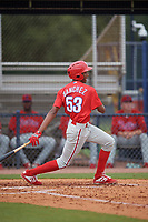 GCL Phillies West Jadiel Sanchez (53) bats during a Gulf Coast League game against the GCL Yankees East on July 26, 2019 at the New York Yankees Minor League Complex in Tampa, Florida.  (Mike Janes/Four Seam Images)