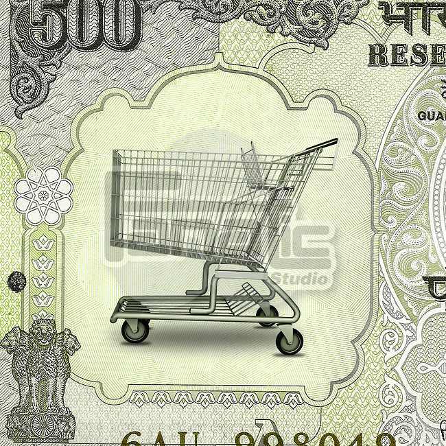 Shopping cart on Indian currency note