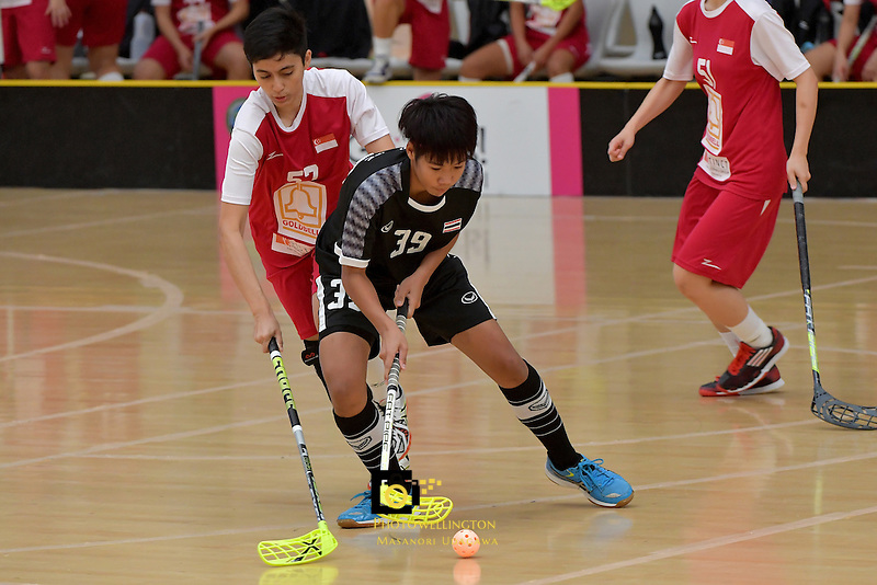 Thailand's Pichawee Yoola in action during the World Floorball Championships 2017 Qualification for Asia Oceania Region - Singapore v Thailand at ASB Sports Centre , Wellington, New Zealand on Sunday 5 February 2017.<br /> Photo by Masanori Udagawa<br /> www.photowellington.photoshelter.com.