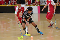 Thailand&rsquo;s Pichawee Yoola in action during the World Floorball Championships 2017 Qualification for Asia Oceania Region - Singapore v Thailand at ASB Sports Centre , Wellington, New Zealand on Sunday 5 February 2017.<br /> Photo by Masanori Udagawa<br /> www.photowellington.photoshelter.com.