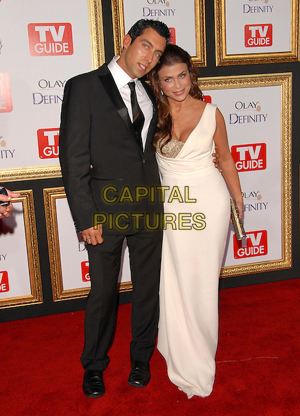 J.T. TORREGIAN & PAULA ABDUL.attends The TV Guide Post Emmy Party 2007 held at Les Deux in Hollywood, California, USA, September 16 2007.                                                                                        full length long cream white dress  gold sparkly glitter bag.CAP/DVS.©Debbie VanStory/Capital Pictures