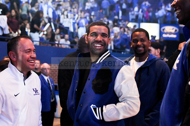 October 17, 2014-Rap artist Drake talks with fans, staff and players after Big Blue Madness in Rupp Arena. Photo by Jonathan Krueger | Staff