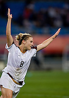 USWNT forward (8) Amy Rodriguez celebrates her goal while playing at Wulihe Stadium.  The USWNT defeated New Zealand, 4-0, during the 2008 Beijing Olympics in Shenyang, China.  With the win, the USWNT won group G and advanced to the semifinals.