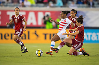 Jacksonville, FL - Thursday, April 05, 2018:  Crystal Dunn, Ariana Calderon during a friendly match between USA and Mexico at EverBank Stadium.  USA defeated Mexico 4-1.