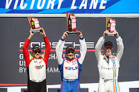 GT3 Platinum Masters Podium, #99 AM Motorsports/Kelly-Moss, Porsche 991 / 2018, GT3P: Alan Metni (M), #43 JDX Racing, Porsche 991 / 2017, GT3P: Mark Kvamme (M), #45 Wright Motorsports, Porsche 991 / 2018, GT3P: Charlie Luck (M)