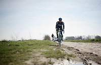 Bernie Eisel (AUT/SKY) riding the Roubaix course<br /> <br /> 2015 Paris-Roubaix recon with Team SKY