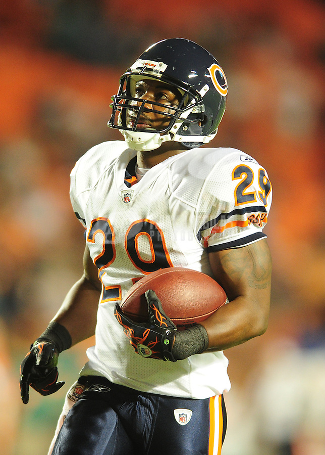 Nov. 18, 2010;  Miami, FL, USA; Chicago Bears running back Chester Taylor against the Miami Dolphins at Sun Life Stadium. The Bears defeated the Dolphins 16-0. Mandatory Credit: Mark J. Rebilas-
