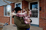 "Kendrick Brinson.LUCEO..Adrianne Ireland hugs her daughter Tatiana, 6, outside of her family's apartment in oil boom-town Williston, North Dakota in January 2012..Adrianne temped at Precision Drilling last year, but now bartends at a popular bar called Whispers..The population of Williston has almost doubled since Adrianne was in high school, she said, and milk prices have gone up with population..Adrianne's mother, Peggy Adrin said the town has ""really changed a lot"" since she first moved there 30 years ago. ""When we first moved here, there was nothing,"" she said. Williston, North Dakota is currently experiencing an influx of people relocating there for the town's third oil boom...Model Released: Yes.Assigning Editor: Michael Wichita."